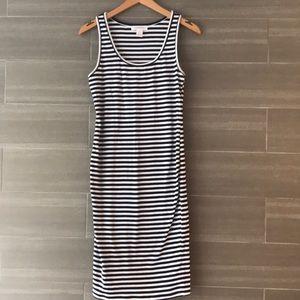 Striped Sleeveless Rib Knit Maternity Dress